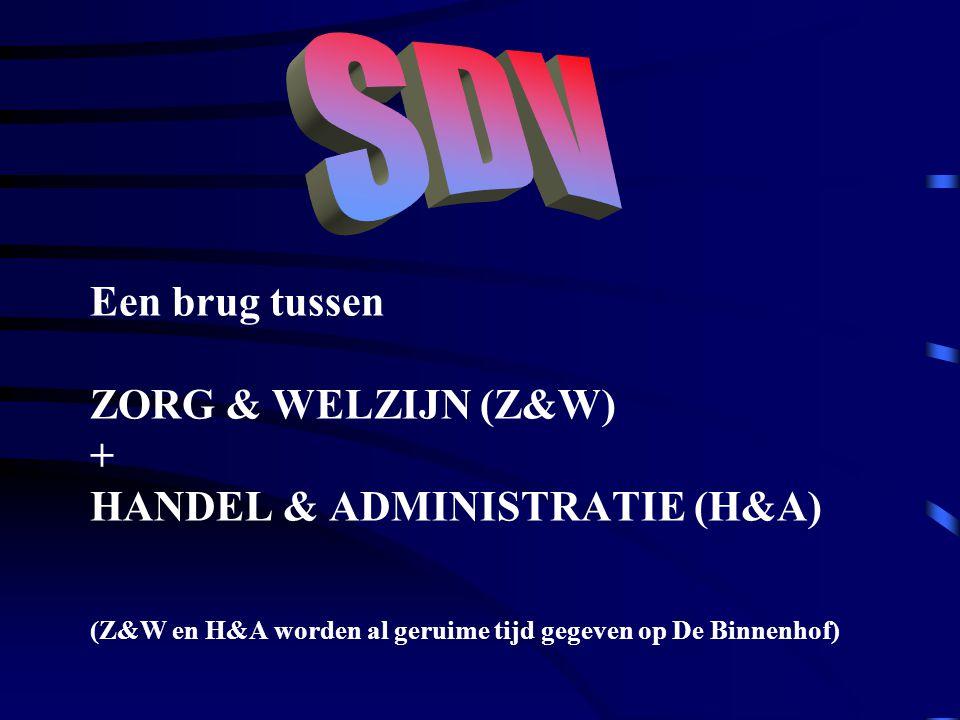 SDV Een brug tussen ZORG & WELZIJN (Z&W) + HANDEL & ADMINISTRATIE (H&A) (Z&W en H&A worden al geruime tijd gegeven op De Binnenhof)