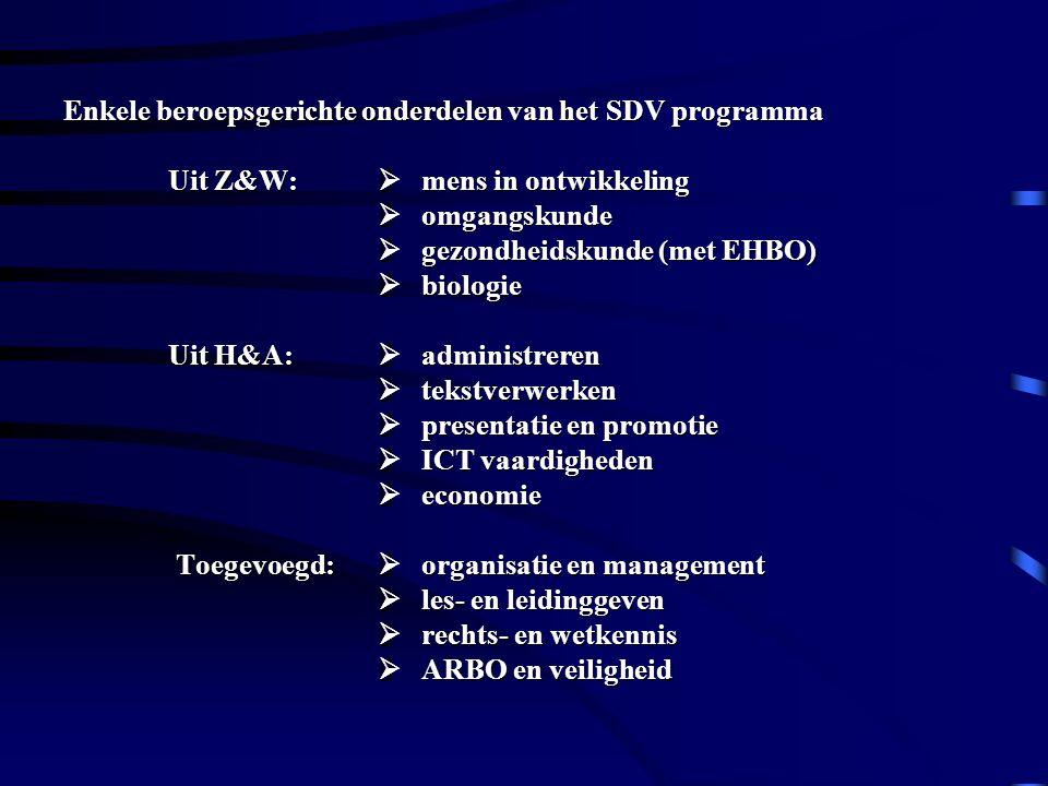 Enkele beroepsgerichte onderdelen van het SDV programma. Uit Z&W: