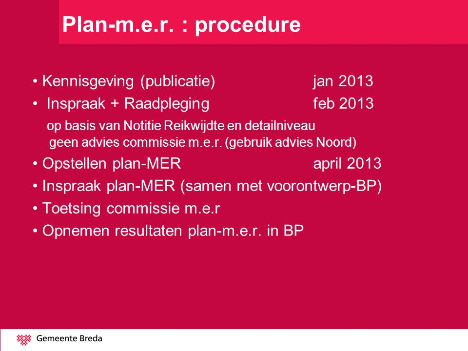 Plan-m.e.r. : procedure Kennisgeving (publicatie) jan 2013