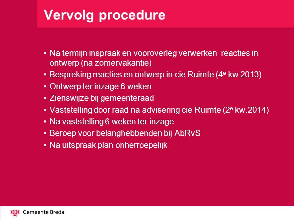 Vervolg procedure Na termijn inspraak en vooroverleg verwerken reacties in ontwerp (na zomervakantie)