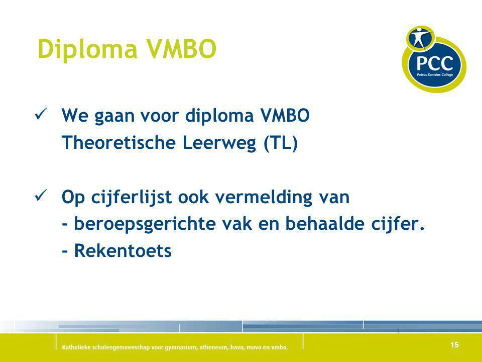 Diploma VMBO We gaan voor diploma VMBO Theoretische Leerweg (TL)
