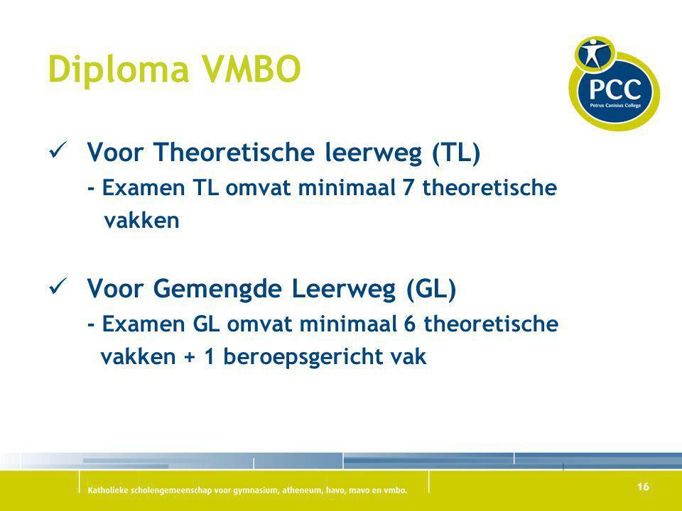 Diploma VMBO Voor Theoretische leerweg (TL) Voor Gemengde Leerweg (GL)