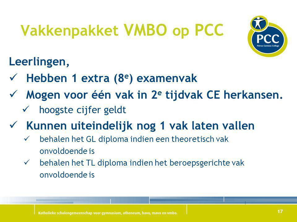 Vakkenpakket VMBO op PCC