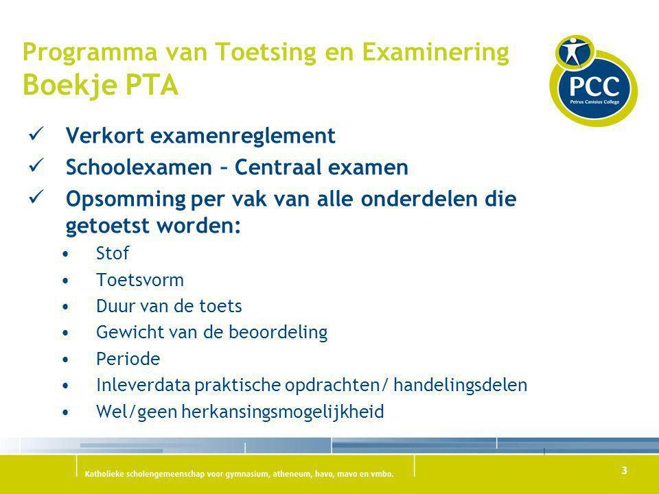 Programma van Toetsing en Examinering Boekje PTA