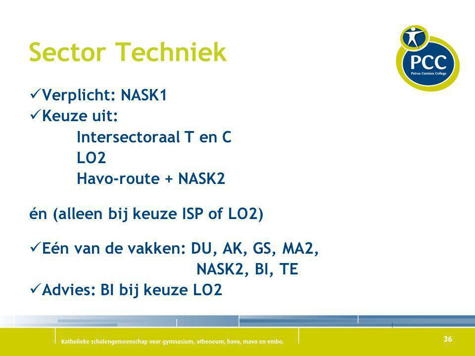 Sector Techniek Verplicht: NASK1 Keuze uit: Intersectoraal T en C LO2