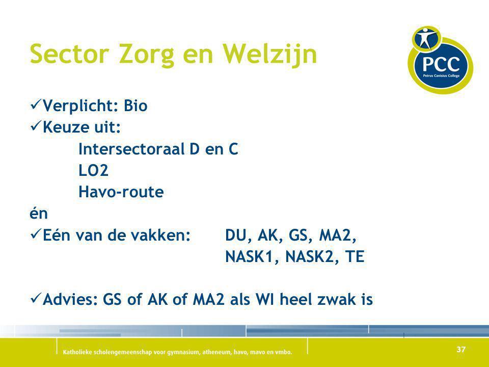 Sector Zorg en Welzijn Verplicht: Bio Keuze uit: Intersectoraal D en C
