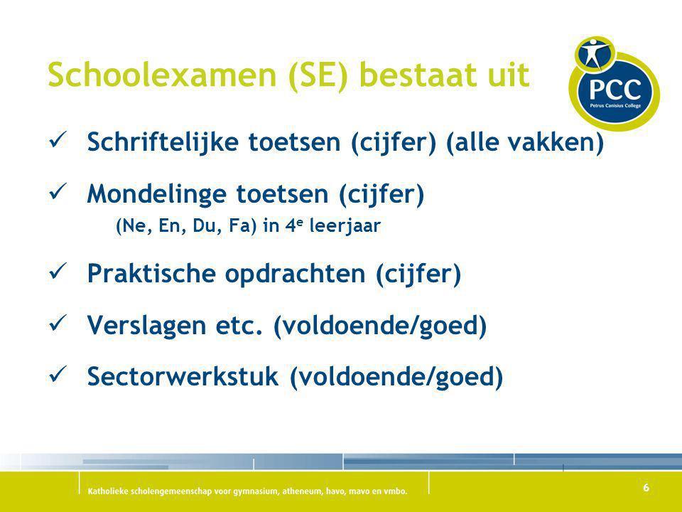 Schoolexamen (SE) bestaat uit