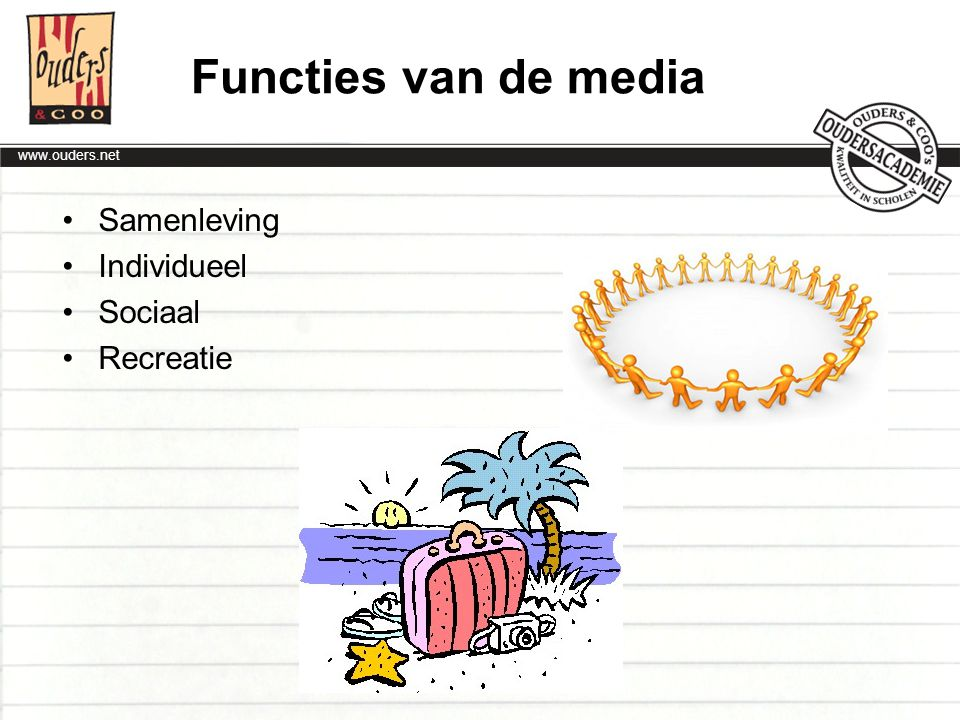 Functies van de media Samenleving Individueel Sociaal Recreatie