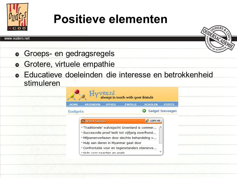 Positieve elementen Groeps- en gedragsregels