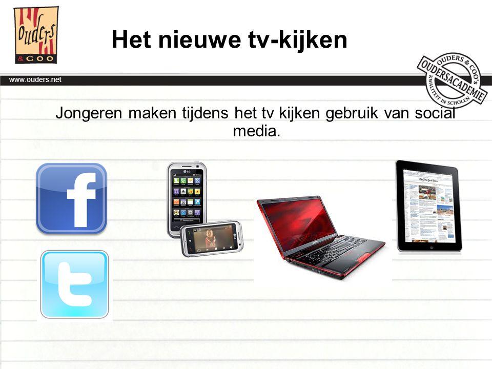 Jongeren maken tijdens het tv kijken gebruik van social media.