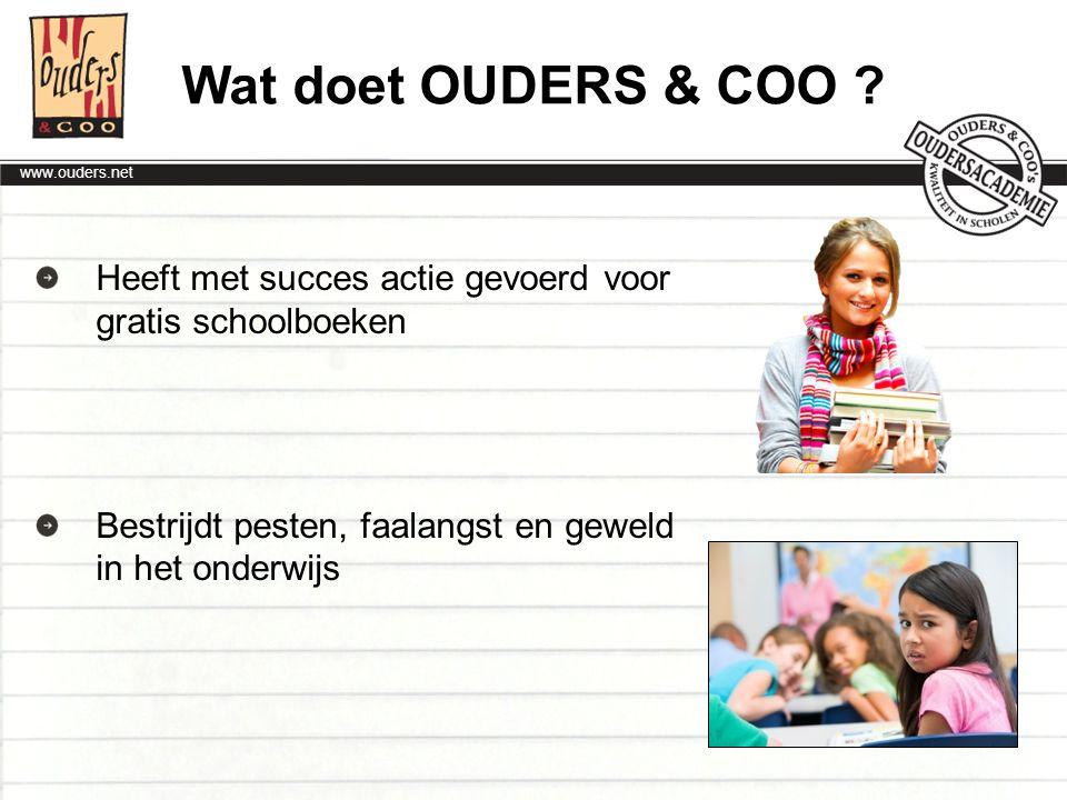 Wat doet OUDERS & COO . Heeft met succes actie gevoerd voor gratis schoolboeken.