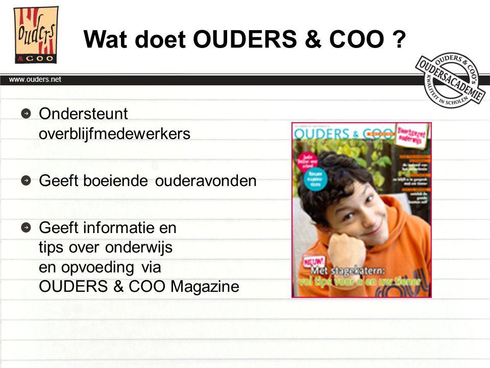 Wat doet OUDERS & COO Ondersteunt overblijfmedewerkers