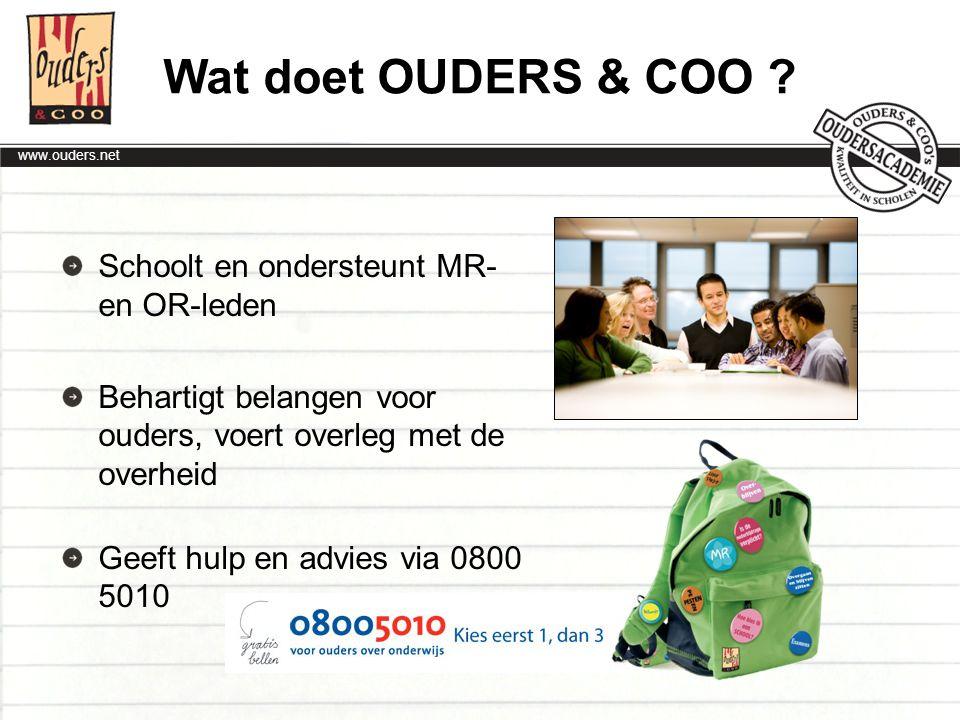 Wat doet OUDERS & COO Schoolt en ondersteunt MR- en OR-leden