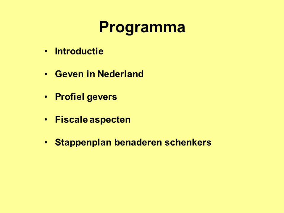 Programma Introductie Geven in Nederland Profiel gevers