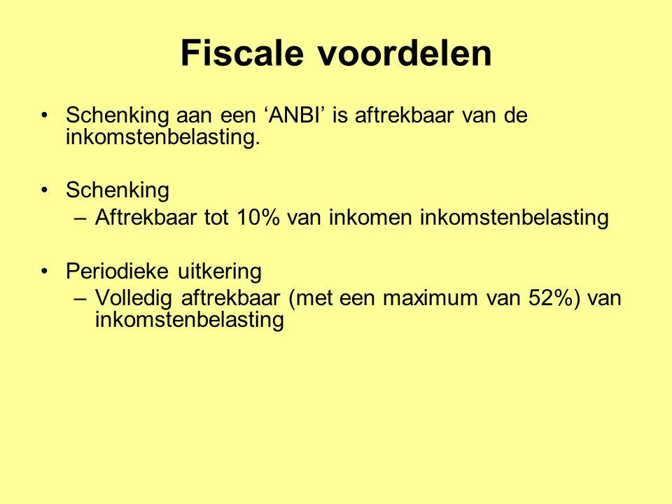 Fiscale voordelen Schenking aan een 'ANBI' is aftrekbaar van de inkomstenbelasting. Schenking. Aftrekbaar tot 10% van inkomen inkomstenbelasting.