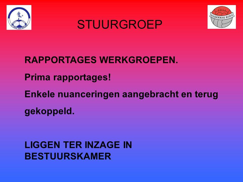 STUURGROEP RAPPORTAGES WERKGROEPEN. Prima rapportages!