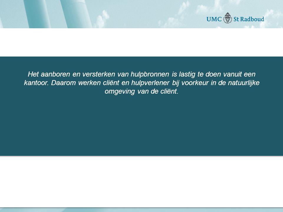 Het aanboren en versterken van hulpbronnen is lastig te doen vanuit een kantoor.