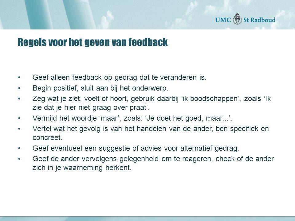 Regels voor het geven van feedback