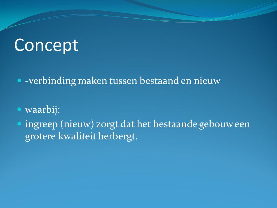 Concept -verbinding maken tussen bestaand en nieuw waarbij: