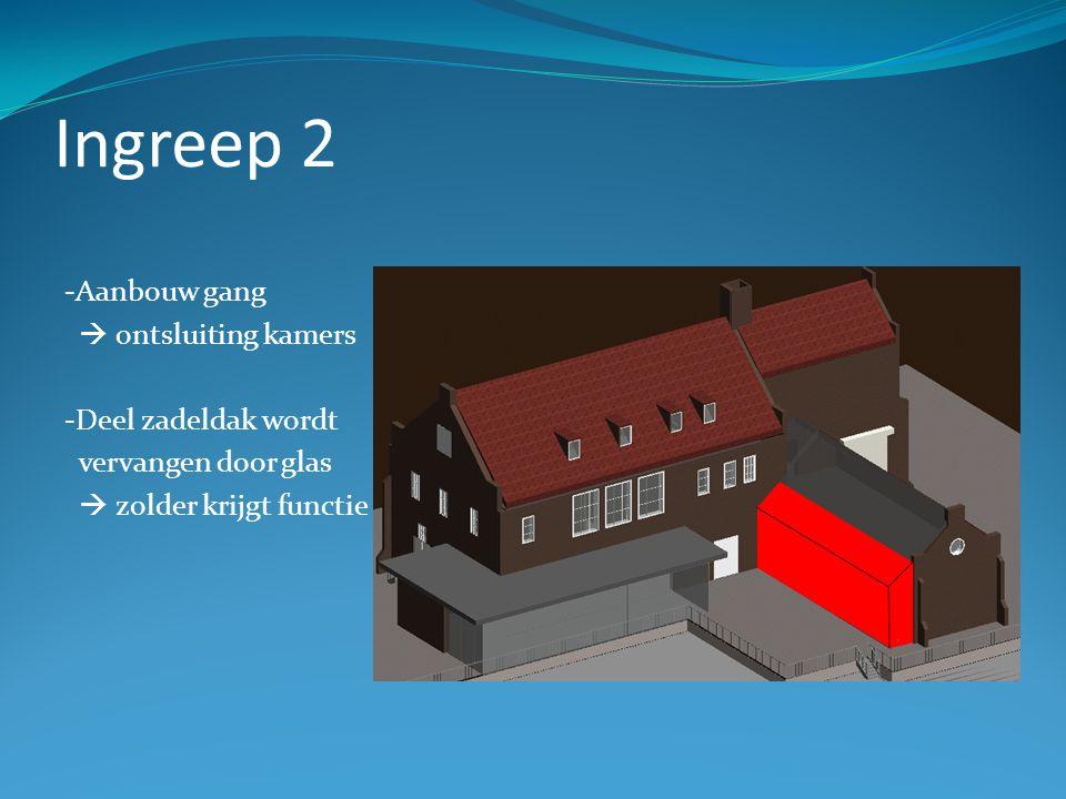 Ingreep 2 -Aanbouw gang  ontsluiting kamers -Deel zadeldak wordt vervangen door glas  zolder krijgt functie