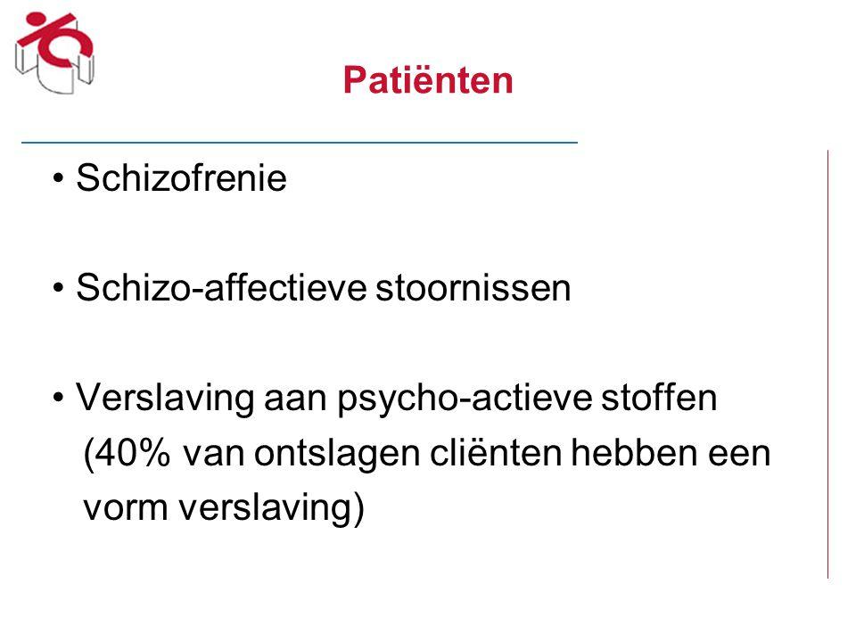 Patiënten Schizofrenie. Schizo-affectieve stoornissen. Verslaving aan psycho-actieve stoffen. (40% van ontslagen cliënten hebben een.