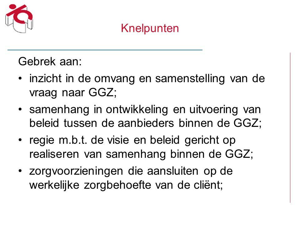 Knelpunten Gebrek aan: inzicht in de omvang en samenstelling van de vraag naar GGZ;