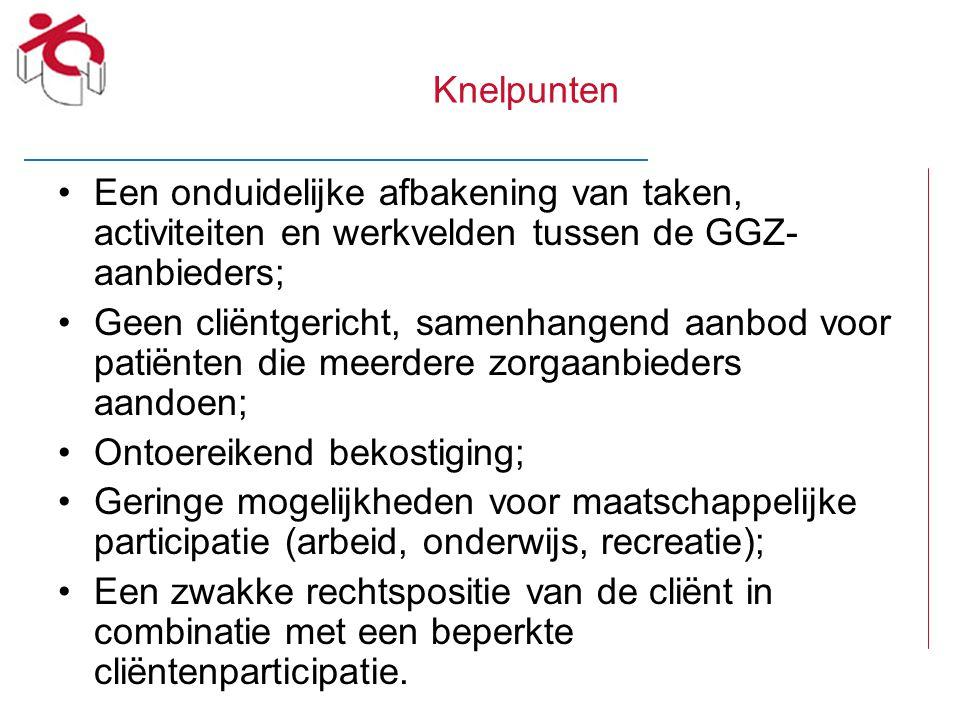 Knelpunten Een onduidelijke afbakening van taken, activiteiten en werkvelden tussen de GGZ-aanbieders;