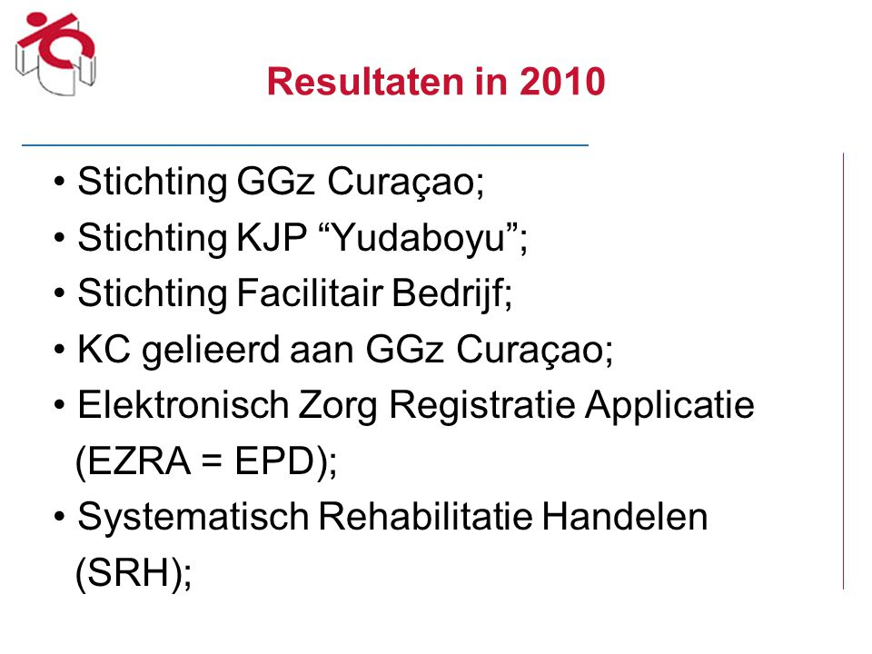 Resultaten in 2010 Stichting GGz Curaçao; Stichting KJP Yudaboyu ; Stichting Facilitair Bedrijf;