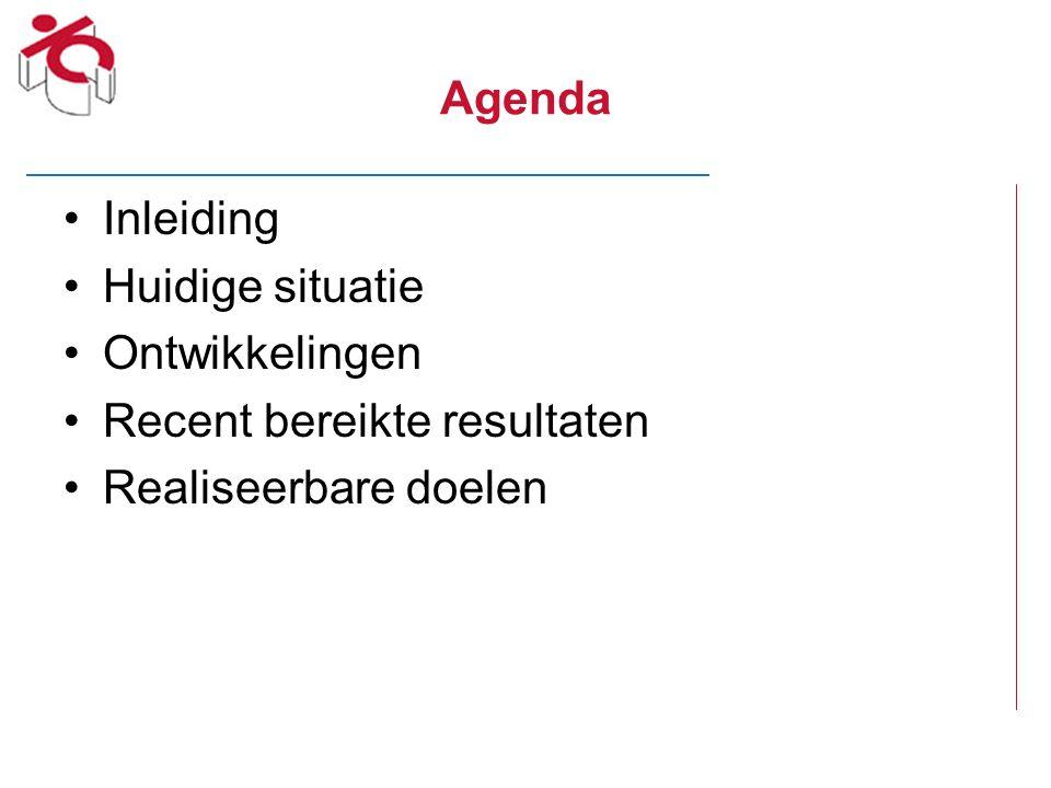Agenda Inleiding Huidige situatie Ontwikkelingen Recent bereikte resultaten Realiseerbare doelen