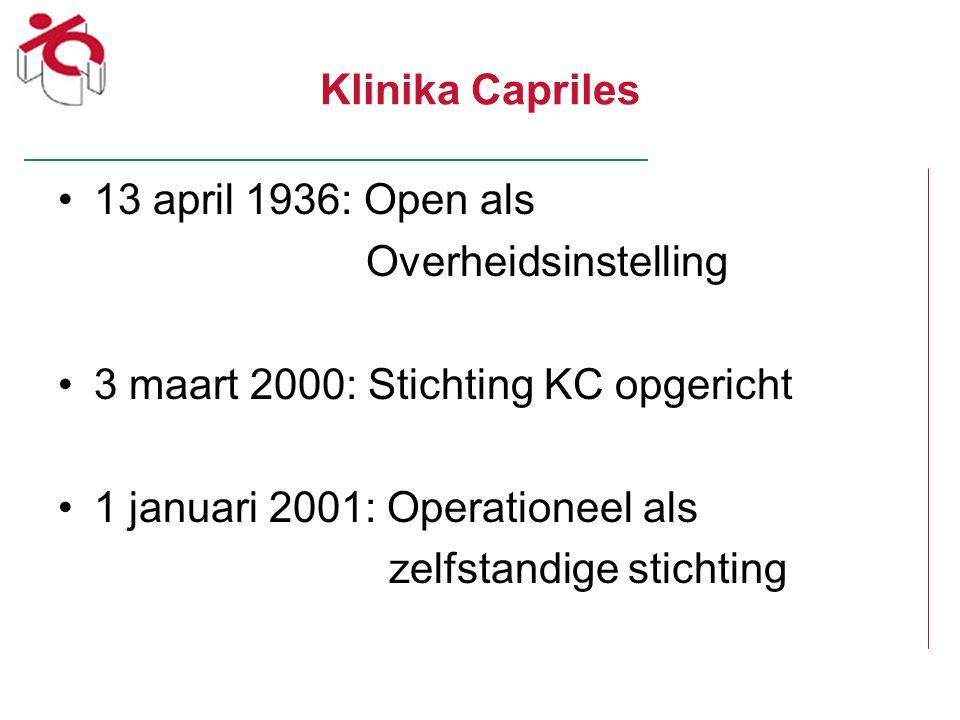 Klinika Capriles 13 april 1936: Open als. Overheidsinstelling. 3 maart 2000: Stichting KC opgericht.