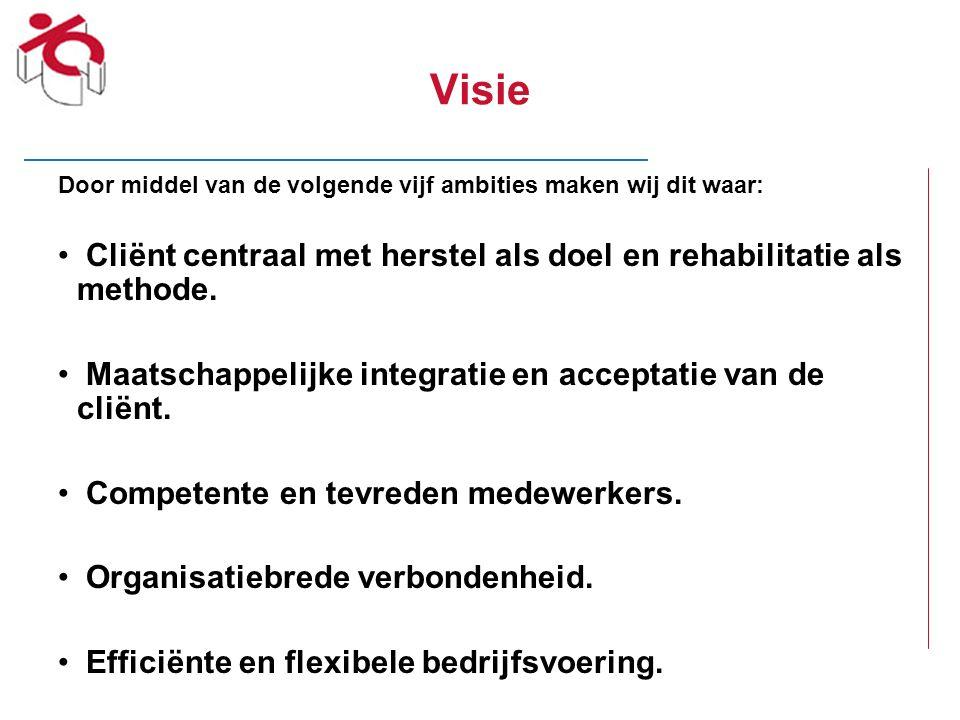 Visie Door middel van de volgende vijf ambities maken wij dit waar: Cliënt centraal met herstel als doel en rehabilitatie als methode.