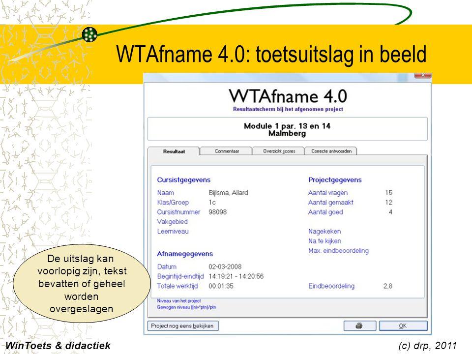 WTAfname 4.0: toetsuitslag in beeld