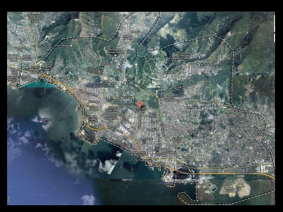 Port of Spain City proper: 37,000 (East-west corridor 500,000)