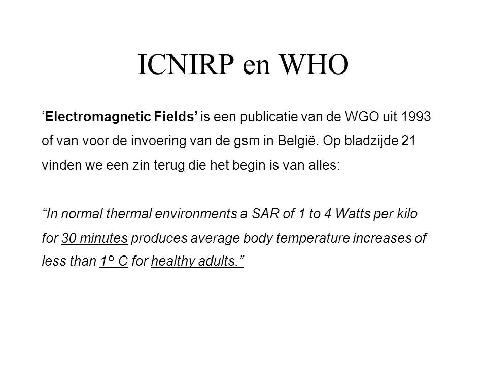 ICNIRP en WHO 'Electromagnetic Fields' is een publicatie van de WGO uit 1993. of van voor de invoering van de gsm in België. Op bladzijde 21.