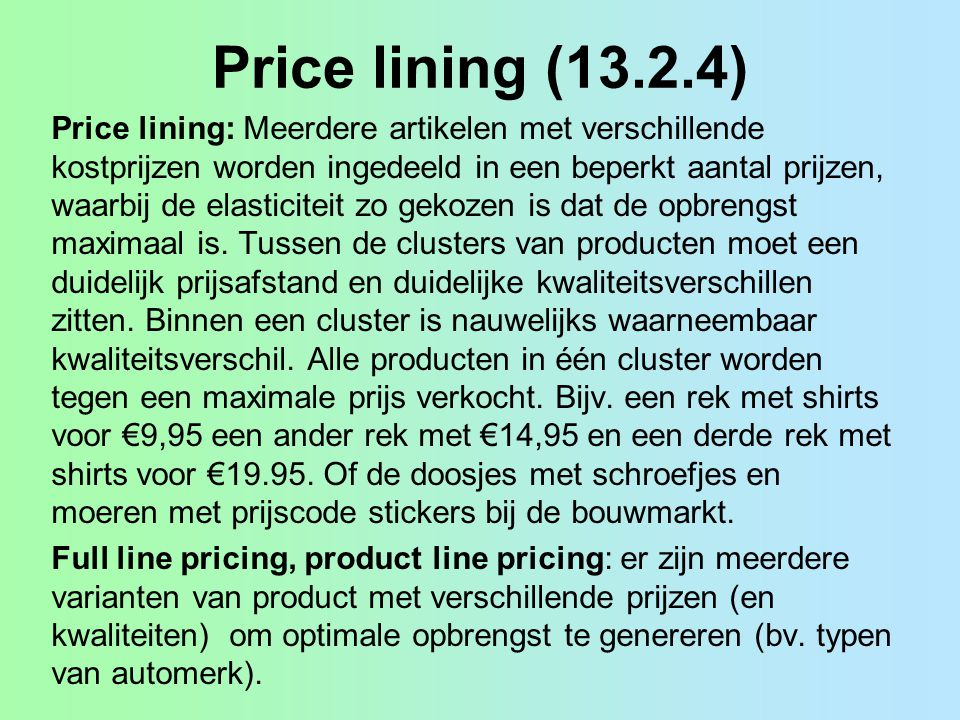 Price lining (13.2.4)