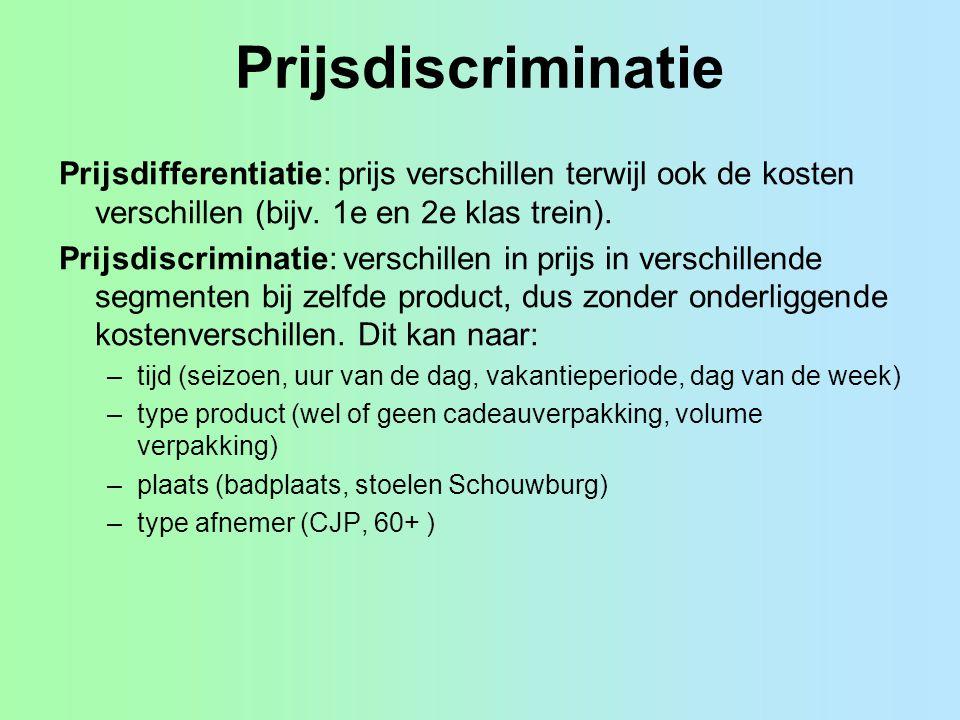 Prijsdiscriminatie Prijsdifferentiatie: prijs verschillen terwijl ook de kosten verschillen (bijv. 1e en 2e klas trein).