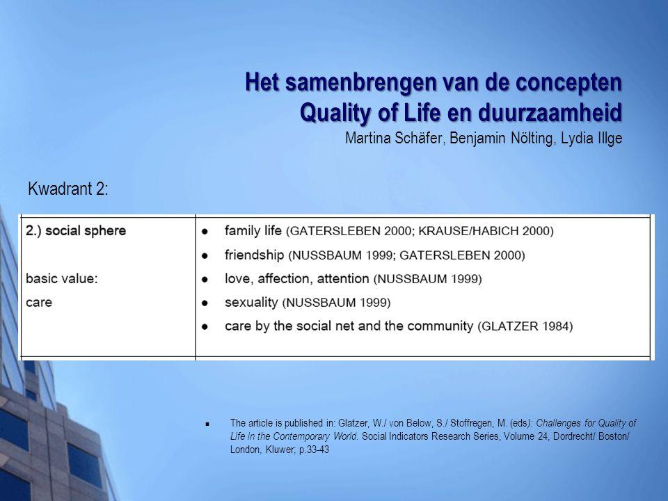 Het samenbrengen van de concepten Quality of Life en duurzaamheid Martina Schäfer, Benjamin Nölting, Lydia Illge