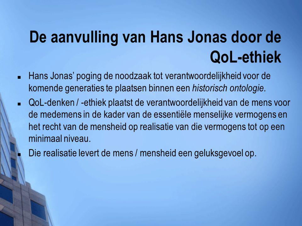 De aanvulling van Hans Jonas door de QoL-ethiek