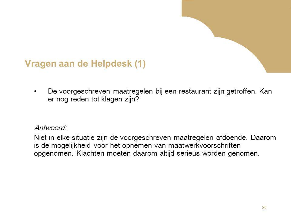 Vragen aan de Helpdesk (1)