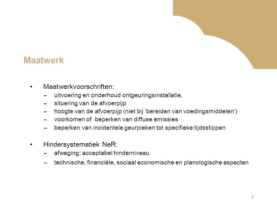 Maatwerk Maatwerkvoorschriften: Hindersystematiek NeR: