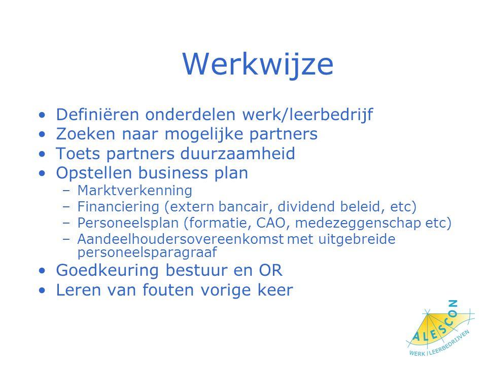 Werkwijze Definiëren onderdelen werk/leerbedrijf