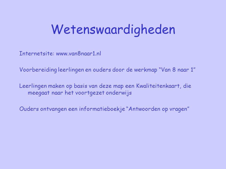 Wetenswaardigheden Internetsite: www.van8naar1.nl