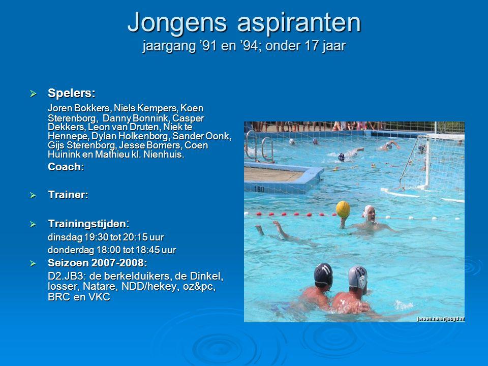 Jongens aspiranten jaargang '91 en '94; onder 17 jaar