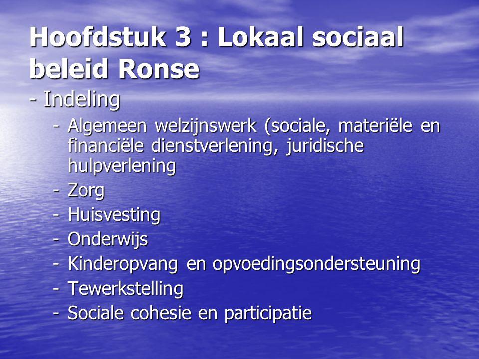 Hoofdstuk 3 : Lokaal sociaal beleid Ronse