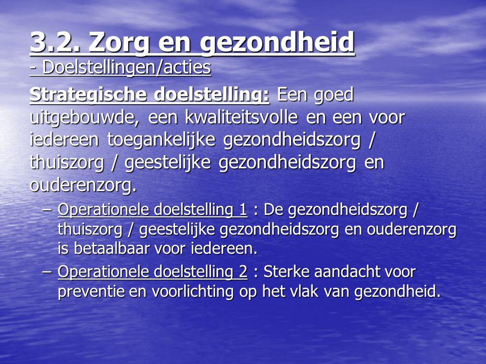 3.2. Zorg en gezondheid - Doelstellingen/acties