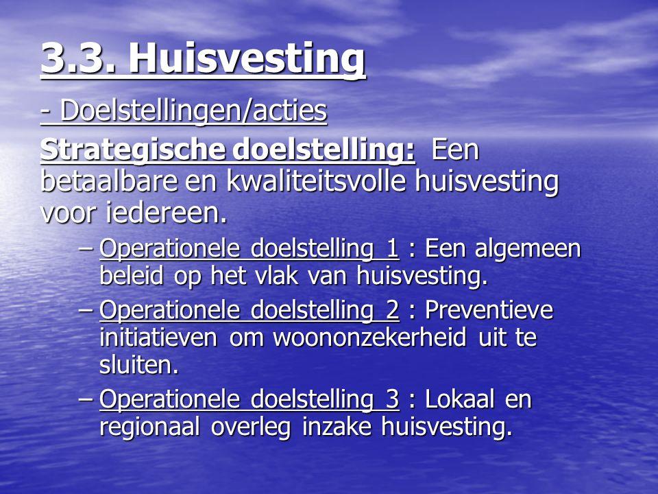 3.3. Huisvesting - Doelstellingen/acties