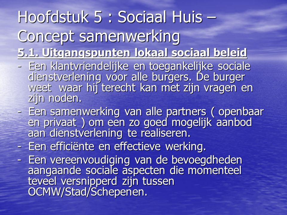 Hoofdstuk 5 : Sociaal Huis – Concept samenwerking