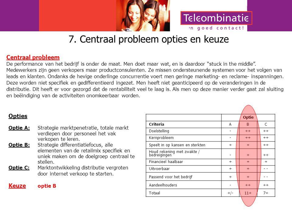 7. Centraal probleem opties en keuze