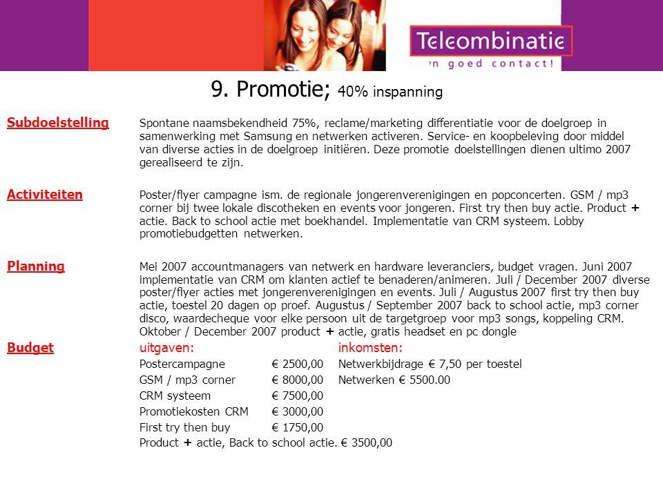 9. Promotie; 40% inspanning