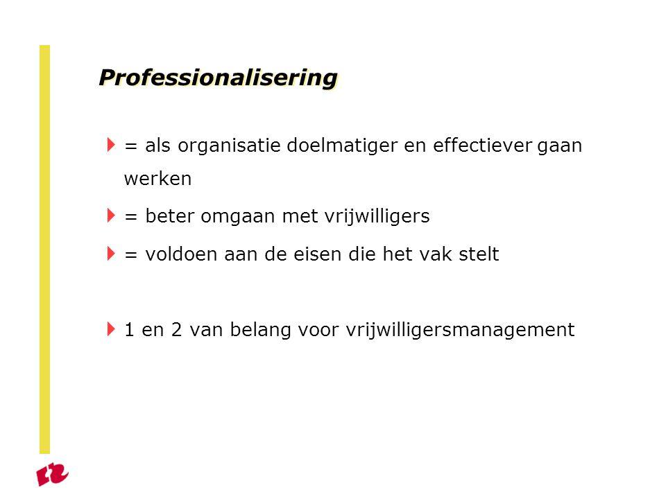 Professionalisering = als organisatie doelmatiger en effectiever gaan werken. = beter omgaan met vrijwilligers.